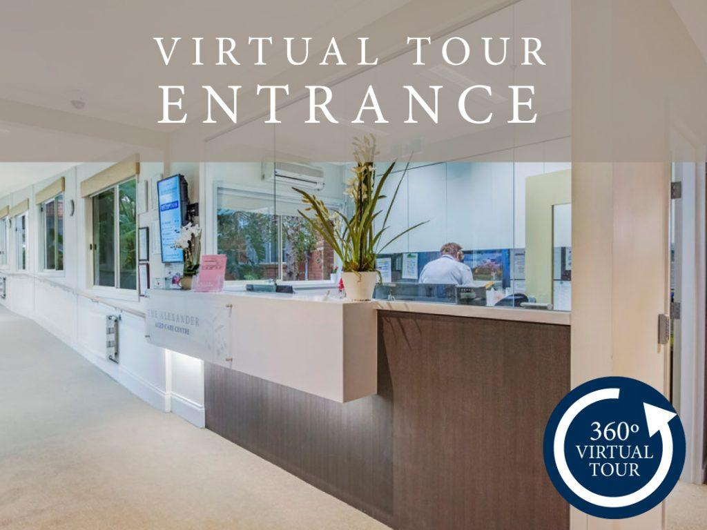 Virtual tour of the entrance at The Alexander Aged Care Centre in Clayton.