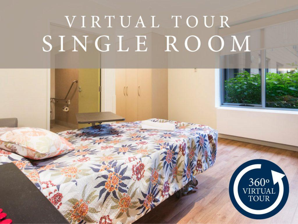 Single room virtual tour at The Alexander Aged Care Centre in Victoria.