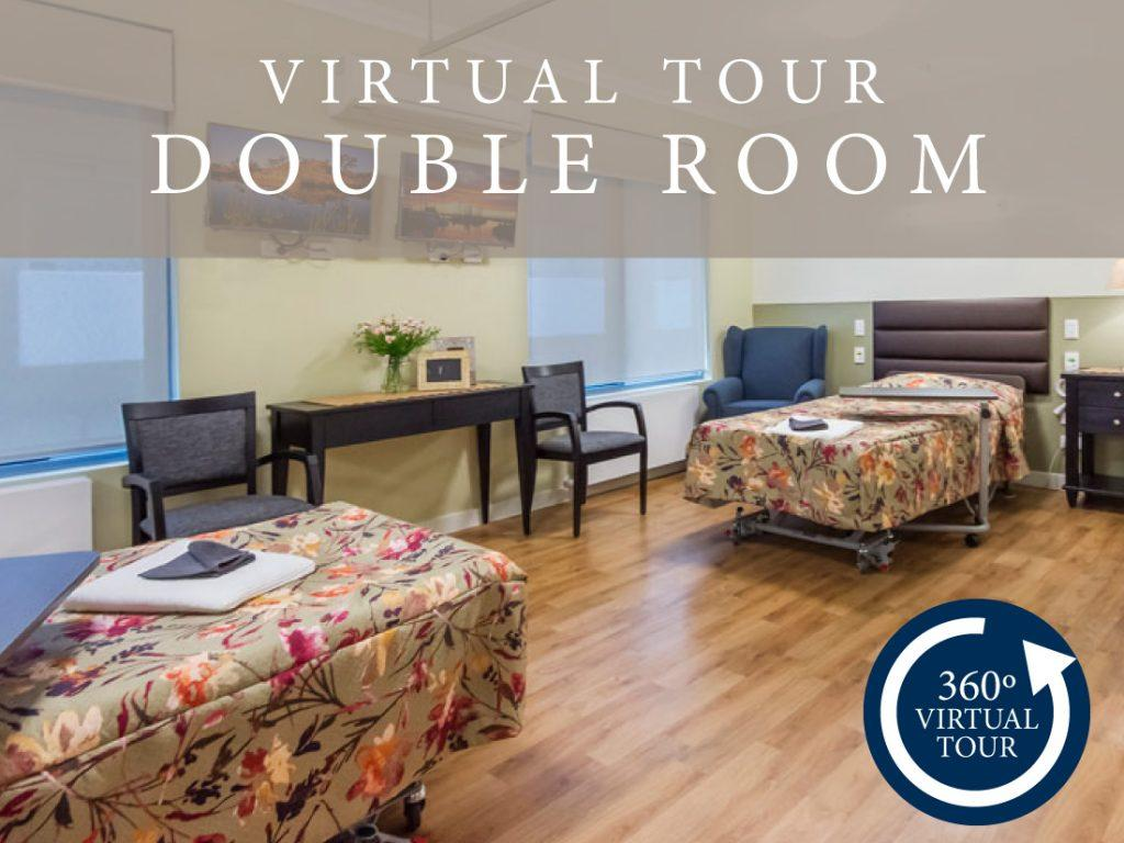 Aged care double room virtual tour with two double beds.