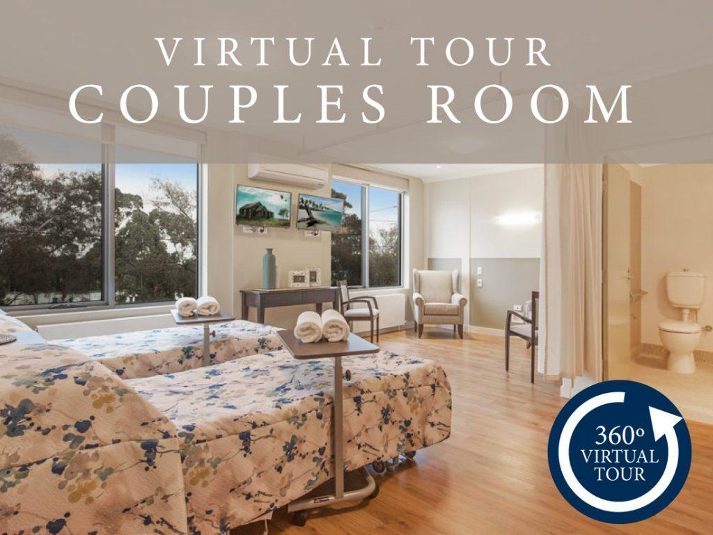 Virtual tour of retiremt village couples room with one large bed.