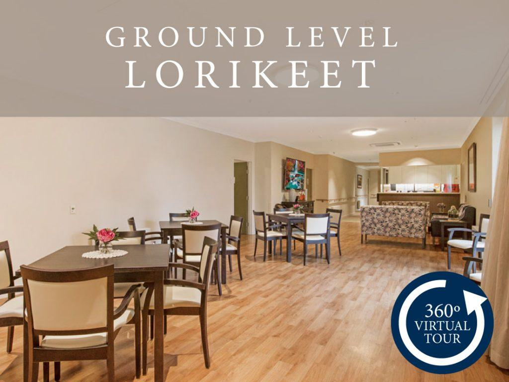 Digital tour of the Lorikeet ground level at The Alexander Aged Care Centre.
