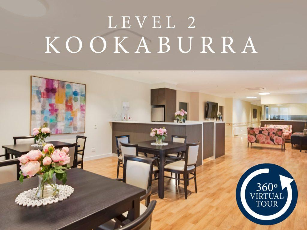 Aged care 360 degree photo tour of the level 2 dining area.