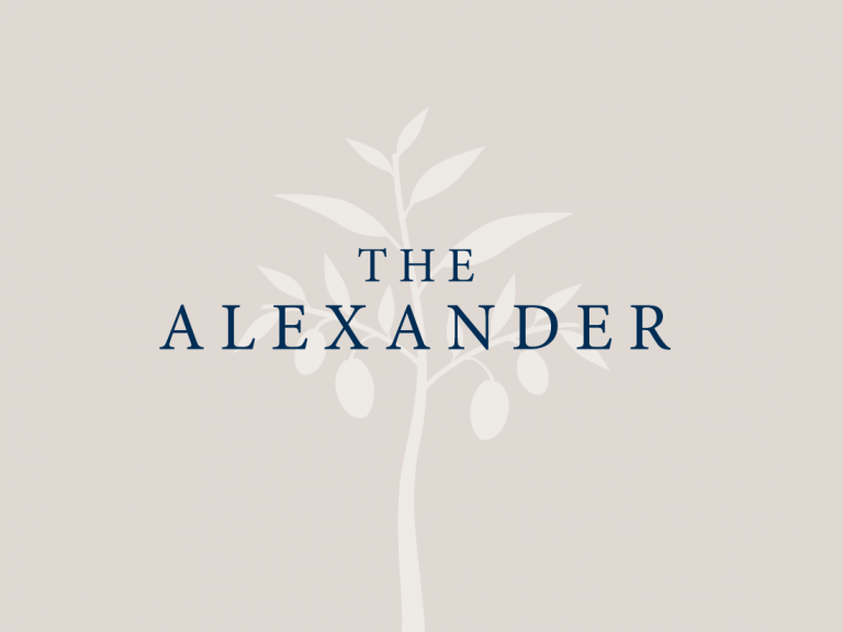 The Alexander text and tree simple logo.