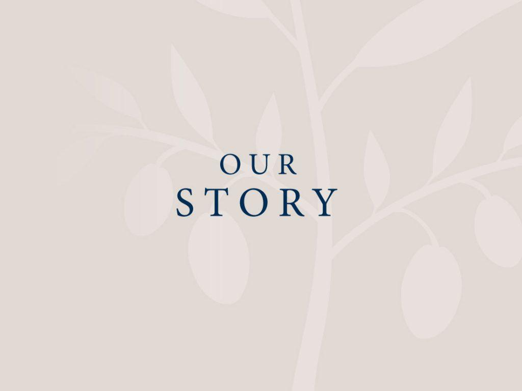 Our story branded text with tree background.