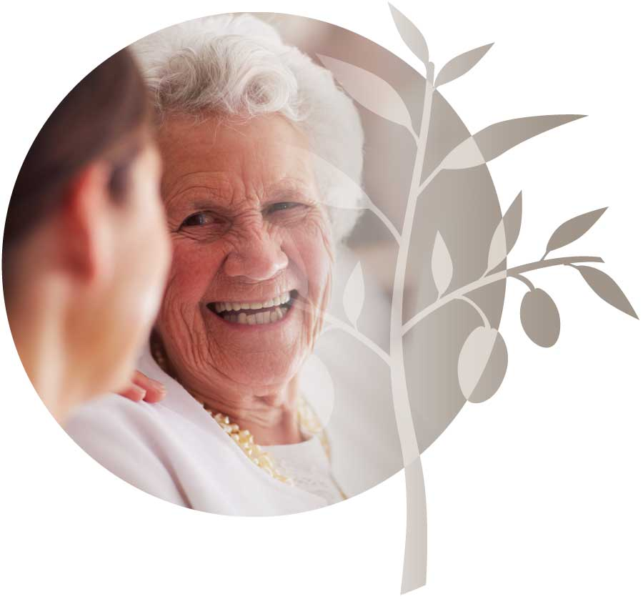 Aged care resident with a carer.
