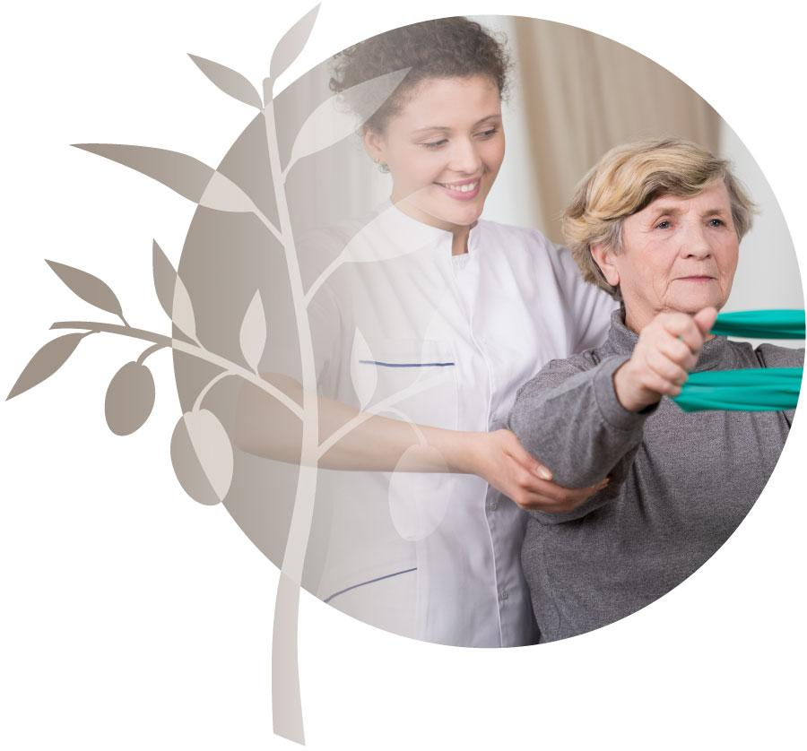 Profesional career nurse helping elderly woman.